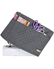 Everything Mary Deluxe Quilted Fabric Sewing Machine Cover, Grey Heather - Covers Singer, Brother & Most Standard Machines - Protective Dust Case Bag with Storage Pockets for Needles & Accessories