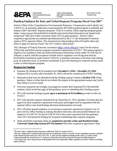 Funding Guidance for State and Tribal Response Programs Fiscal Year 2017 (English Edition)