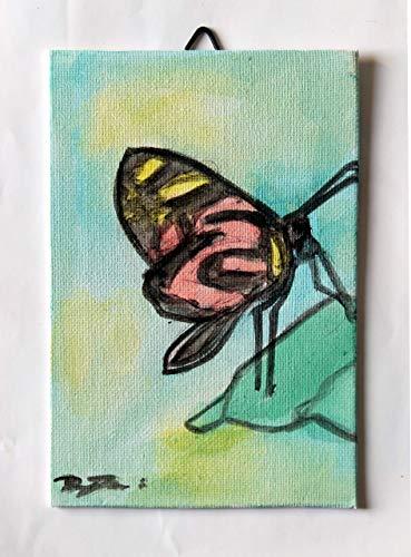 Papillon-Peinture aquarelle faite main cm taille 10x15x0,3 cm sur toile en carton,prêt à être accroché au mur Fabriqué en Italie, Toscane Lucques Créé par Davide Pacini.