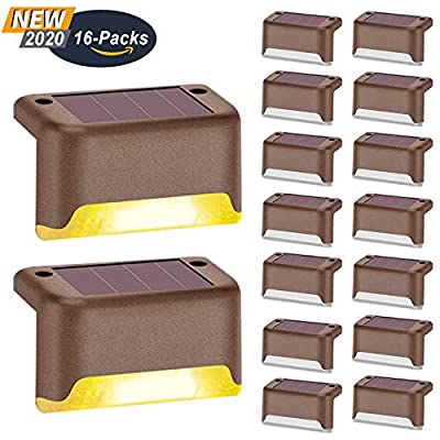 Aogist Solar Step Lights,Solar Deck Lights,16 Pcs Waterproof Outdoor Led Solar Lamp for Steps,Fence,Deck,Pathway,Railing and Stairs (Brown)