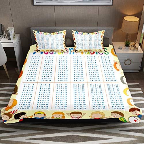 Juego de funda de edredón, juego de cama king de 3 piezas, juego de sábanas educativas con fundas de almohada, decoración de habitación para niños, niñas, adolescentes y adultos