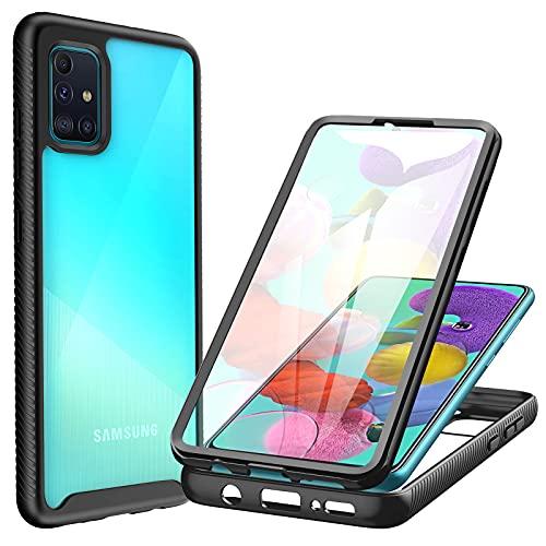 CENHUFO Samsung Galaxy A71 Hülle, Stoßfest Schutzhülle Samsung A71, 360 Grad vollschutz Cover mit Eingebautem Bildschirmschutz Robust Bumper Hülle Transparent Handyhülle für Samsung Galaxy A71 4G -Schwarz
