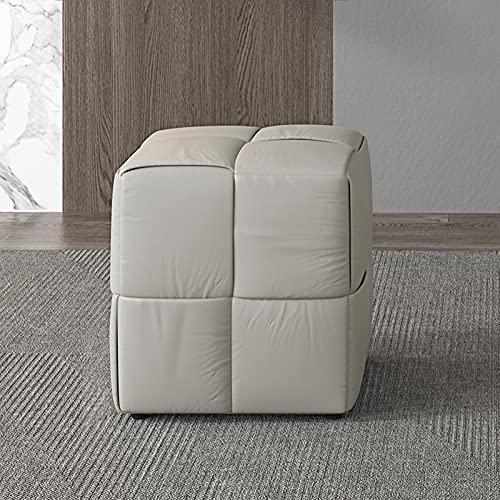 HFVDA Kreativer Quadrat niedriger Hocker, Kommode Make-up-Hocker, moderner Leder-Kunsthocker, Wohnzimmer-Sofa-Hocker, faul Freizeithocker, Arbeitszimmer-Lesehocker (Color : Gray)
