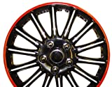4 tapacubos para Skoda Fabia, 15', con contorno en rojo, color negro