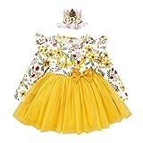 FYMNSI Vestido de manga larga para bebé con estampado floral de algodón, tutú, vestido de princesa, vestido de fiesta, otoño, para sesiones de fotos. Amarillo con cinta para la cabeza 18 Meses