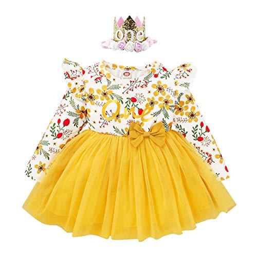 FYMNSI Disfraz de primer cumpleaños para niña de manga larga con estampado floral y lazo, tutú de princesa, vestido de otoño, ropa casual para 6-24 meses