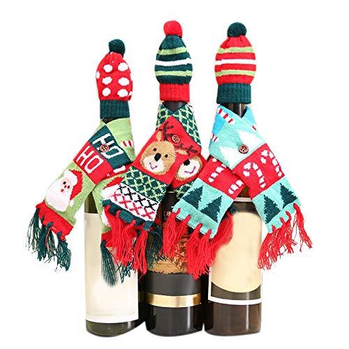 SNOWINSPRING Weihnachten Wein Flaschen Abdeckungen Wein Flasche Schal Taschen Urlaub Esszimmer Dekorationen Festliches Dekor für die Küche, 3 Paket