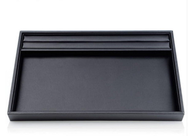 放射能大学生サイクル[ブルー リフレイン] (Bluerefrain) リング溝付き ジュエリートレイ アクセサリートレイ 指輪展示 ディスプレイ レザー調 大 (30*20*3 cm) 小 (25*20*3cm) 小 (ブラック (大) 30×20cm)