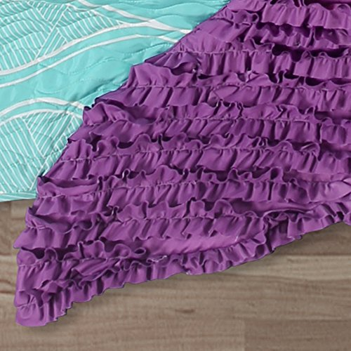 Lush Decor Lush Décor Mermaid Ruffle 3Piece Quilt Set, Full, Pink/Purple