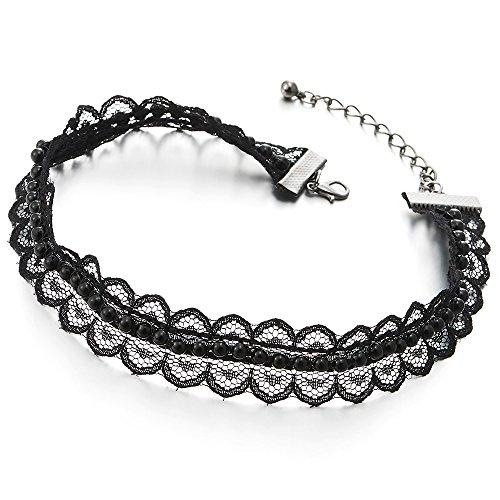 COOLSTEELANDBEYOND Flor Collar de Gargantilla Choker Negro Encaje Tattoo Collar de Mujer Niñas con Negro Perla
