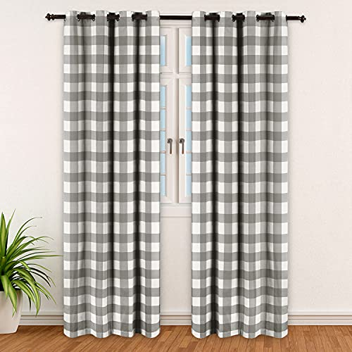 Refrze Grey Buffalo Plaid Curtains, Blackout Grey Buffalo Check Curtains, Farmhouse Country Curtains for Living Room Bedroom, Set of 2 Panels, 52 x 84 Inches Long