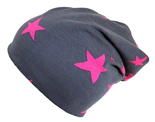 Wollhuhn  Long-Beanie, Wende-Mütze, ganzjährig, mit Sternen, S: KU 48/50 (ca 1-3 Jahre), Unregelmäßige Sterne anthrazit/pink