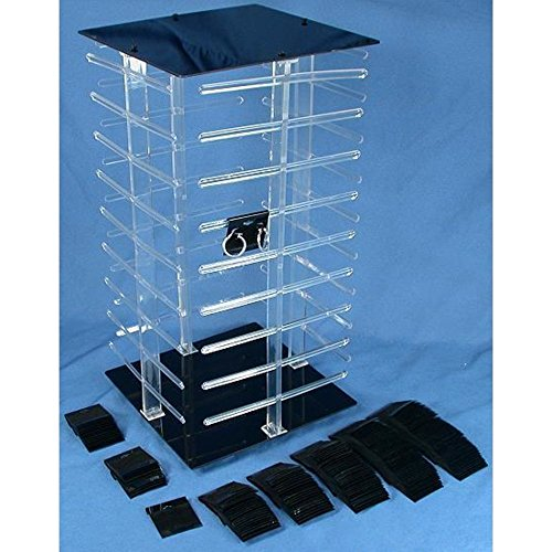 revolving credit cards 100 Black Earring Cards Revolving Rotating Display 4 Sided Stand