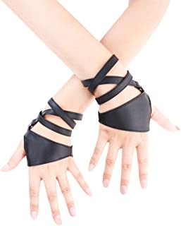 JISEN Women Half Palm Fingerless PU Leather Night Bar Band Up Punk Gloves