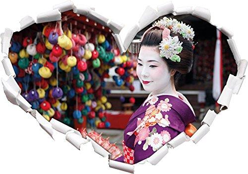 Geisha Graceful avec Forme de Coeur du Ventilateur dans Le Regard 3D, Mur ou Un Autocollant de Porte Format: 62x43.5cm, Stickers muraux, Stickers muraux, Décoration Murale