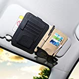DE RAN FU Leatherette Car Sun Visor Storage Glasses Ticket Credit Card Organizer Holder Automotive Interior Accessories(Black)