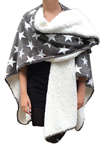 Classic Textiles Of Sweden - Poncho Aspen 120x150cm | Super Flauschig | Extra Dick | Perfekt zum Überwerfen und einkuscheln (grau)