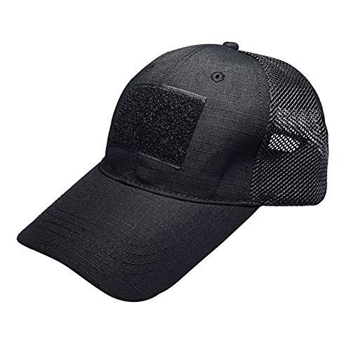 SGOYH Gorras de béisbol tácticas Gorra de Malla Deportiva Ajustable Unisex Sombrero de Camping y Senderismo (Negro)