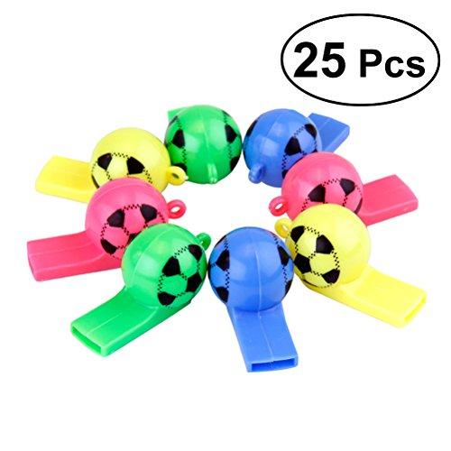 YeahiBaby 25 unids silbido de fútbol de plástico colorido árbitro de animadoras Whistle niños deportes silbido de juguete para deportes actividad al aire libre (color al azar)
