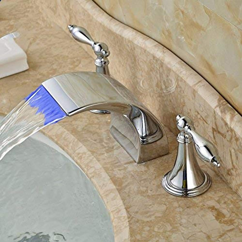 Oudan Basin Mixer Tap Bathroom Sink Faucet Led wash basin mixer bathroom bathroom double the three hole basin faucet hot and cold full copper,B1 (color   B2)