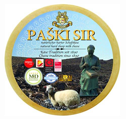 Ganzer Laib Zertifizierter PAGER KÄSE - PAŠKI SIR Schafskäse ca. 2850g Hartkäse Schaf aus Dalmatien mit Meersalz aus der Saline von Pag plus eine Flasche Malvazija 0,75 lt Gratis dazu