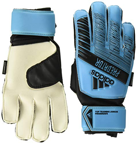 adidas Juniors Predator Top Training Finger Save Soccer Goalkeeper Gloves , Bright Cyan/Black  , 5