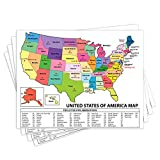 United States Map - USA Poster, US Educational Map - with State Capital - for Ages Kids to Adults- Home School Office - Printed on 12pt. Glossy Card Stock   Bulk Pack of 10   8.5 x 11 Inches