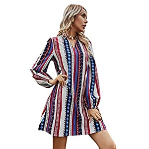 Women's Striped Tribal Print Long Sleeve V Neck Tunic Boho Short Dress