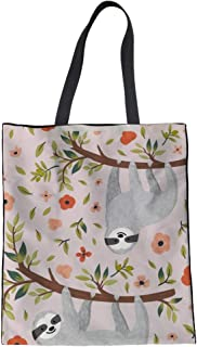 Coloranimal Eco-friendly Big Capacity Linen Tote Bag Kawaii Sloth Handbag