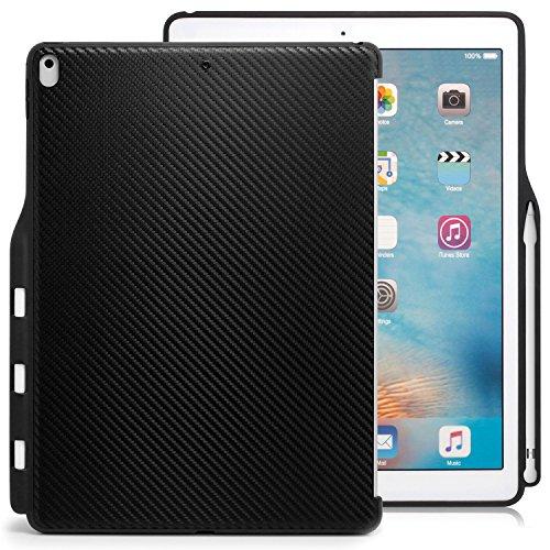 KHOMO iPad Pro 12.9 (2017) Rückseite Abdeckung Hülle Hülle Schutzhülle Kompatibel mit Smart Cover, Tastatur & Apple Pencil 1 Halter - Kohlefaser