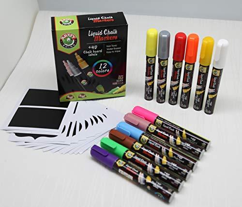 Liquid Chalk Markers |12 Whiteboard Markers Reversible Neon, Metallic Colors | 40 Labels | Chalkboard Safe Dustless Wet Erase Fine Paint Pens, Blackboard, Windows, Restaurant Menu Board & Kids Art