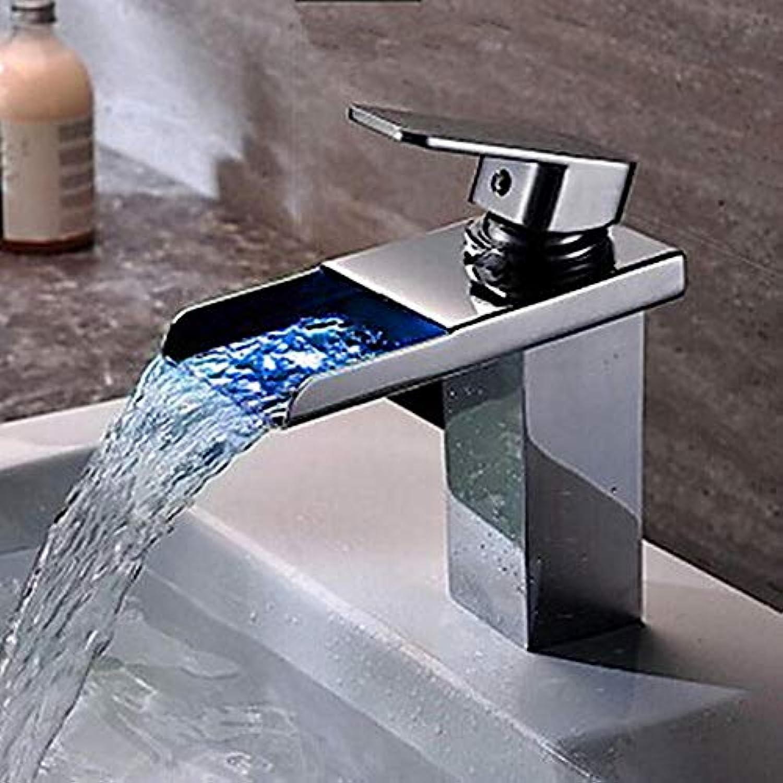 Ayhuir Waschbecken Wasserhahn - Led Chrom Center Set Einloch Einhand Einloch Wasserhahn Messing