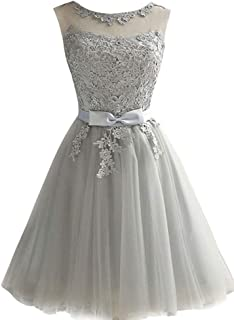 Women's Short Prom Dress Tulle Lace Homecoming Bridesmaid Dress Knee Length