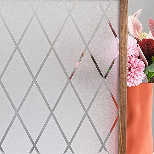 FEOMOS Film Occultant Fenêtre Film de Fenêtre Givré en Treillis Film Dépoli de Vitre Anti-UV 44cm x 200cm