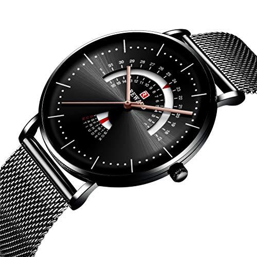 DESHOME Analoge Sport-Quarzuhr für Herren, Business-Armbanduhren mit Wochen-, Kalender- und Edelstahlgitterband für Herren und Jugendliche,Black