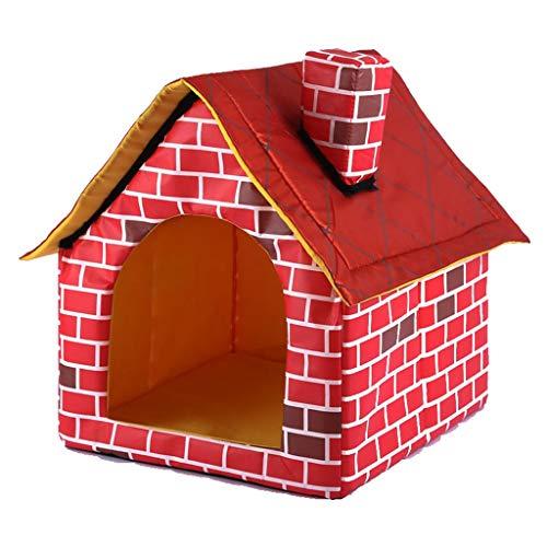 UNWSTYU Cálida caseta para perros con chimenea para mascotas, gran casa, simulación de ladrillo, camas para perritos con alfombrilla interior de poliéster