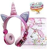 Cuffie per bambini Unicorn Wireless, Cuffie Bluetooth per ragazze Cuffie auricolari per bambini per studio online, Cuffie rosa per ragazze Compleanno Di nuovo a scuola Regalo di Natale Unicorno