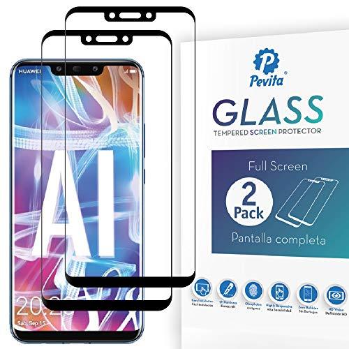 Pevita Protector de Pantalla para Huawei Mate 20 Lite [2 Packs] Full Screen Cristal Templado Huawei Mate 20 Lite Dureza 9H, Sin Burbujas, Fácil Instalación.