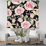 GenericBrands Tapices Florales Coloridos Rosa Rosa Tapiz de Flores Tapiz romántico de Primavera Manta de Playa Dormitorio Universitario Decoración del hogar
