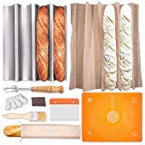 French Bread Baguette Pan Kit - 100% Natural Flax Linen XL Baker's Couche Proofing Cloth, Perforated...