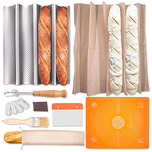 French Bread Baguette Pan Kit - 100% Natural Flax Linen XL Baker's Couche Proofing Cloth, Perforated Bread Pan Lame Bread Tool Bread Bag Dough Scraper - Perfect Gifts for Bakers