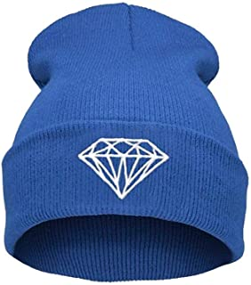 Unisex Diamond Beanies Outdoor Cap Pattern Winter Wool Knit Hat