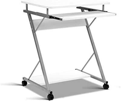 Artiss Mobile Office Computer Desk Wooden Metal Home PC Gaming Study Table White