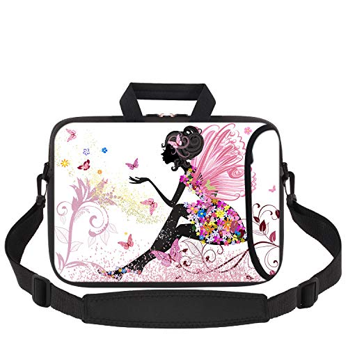 Laptop Sleeve 11.6-12.1 Inch, iCasso Soft Neoprene Laptop Bag Case Handle Bag with Adjustable Shoulder Strap for MacBook Air 11, MacBook Retina 12/iPad Pro/Ultrabook Netbook Tablet - Butterfly Girl