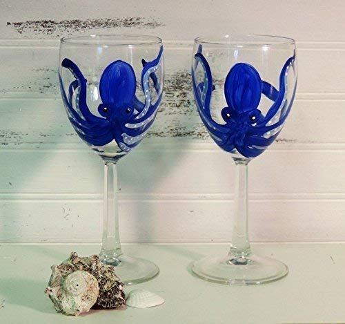 Hand Painted Blue Octopus Wine Glass Choice Set Beach Max 78% OFF D Coastal Summer