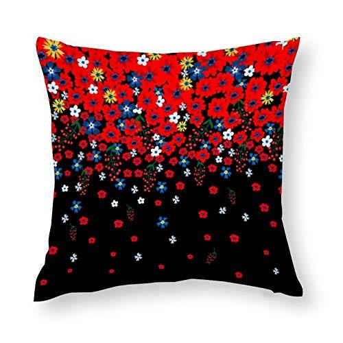 Cenefa floral con lindas flores pequeñas Ditsy elegante, suave microfibra decorativa, funda de almohada de 45 x 45 cm