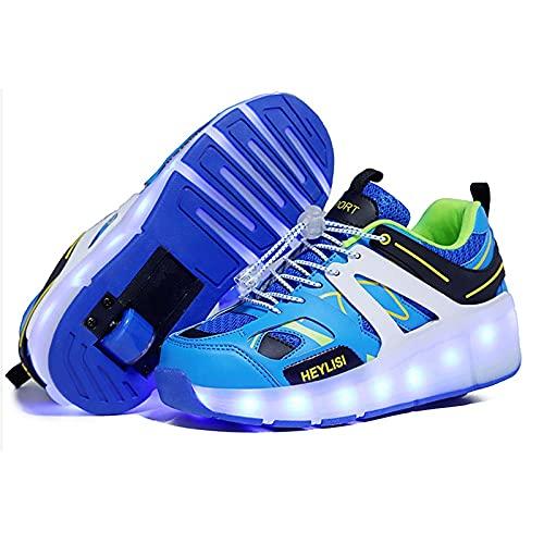 JYMEI Zapatillas con LED para Patines, para Niños Unisex Zapatillas Iluminadas Ruedas Simples/Dobles Zapatillas Técnicas De Skate Zapatillas Retráctiles De Gimnasia para Correr,Blue Single Wheel,31