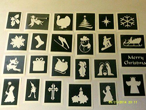 30 x Schablonen mit weihnachtlichem Thema (gemischt) zum Ätzen auf Glas Handwerk Hobby Glaswaren Geschenk