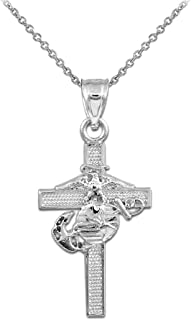 American Heroes 925 Sterling Silver US Marine Corps Medium Military Cross Pendant Necklace