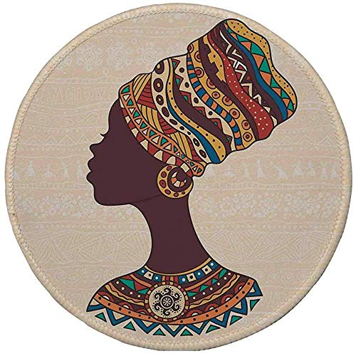 Rubber ronde muismat, Tribal decor, Afrikaanse vrouw in traditionele etnische mode jurk portret glamour grafische, crème bruin